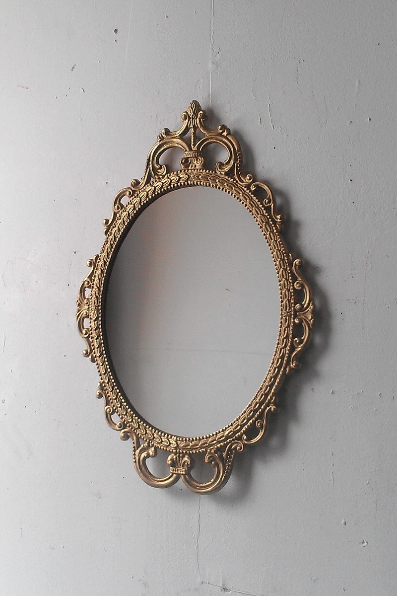 Gold Mirror In Vintage Oval Frame Small Bathroom Wall Mirror Within Small Antique Mirror (Image 8 of 15)