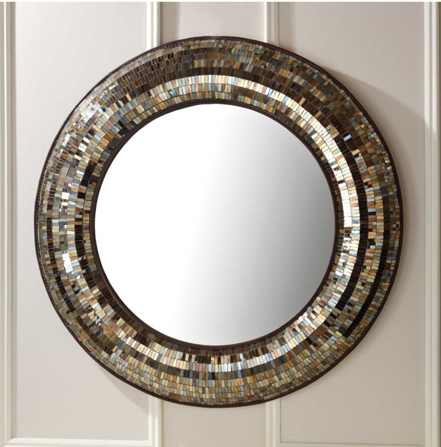 Gold Mosaic Round Wall Mirror 3 Foot Diameter Silver Panther Throughout Round Mosaic Wall Mirror (Image 5 of 15)
