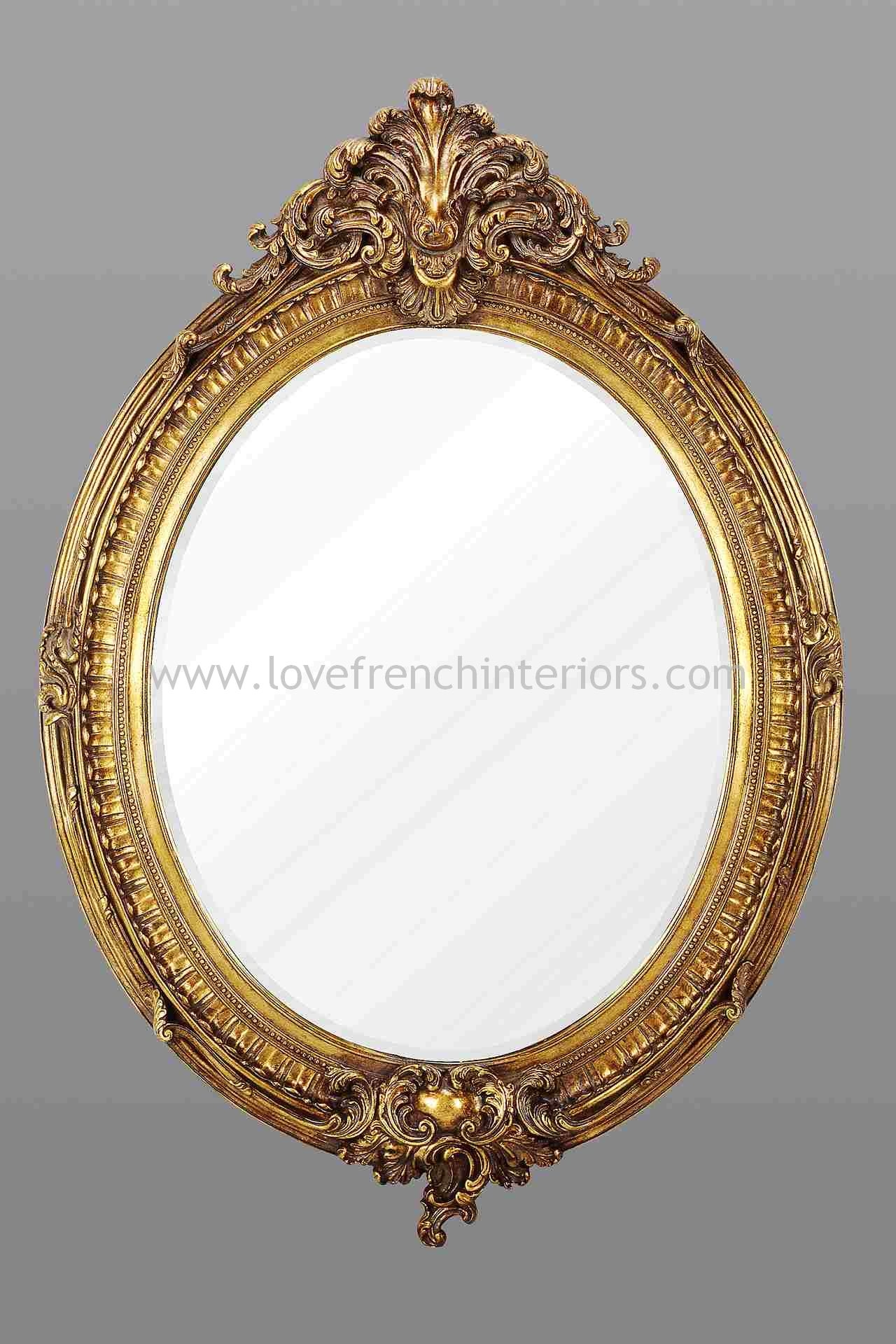 Gold Oval French Mirror Pertaining To Antique Gold Mirror French (Image 13 of 15)