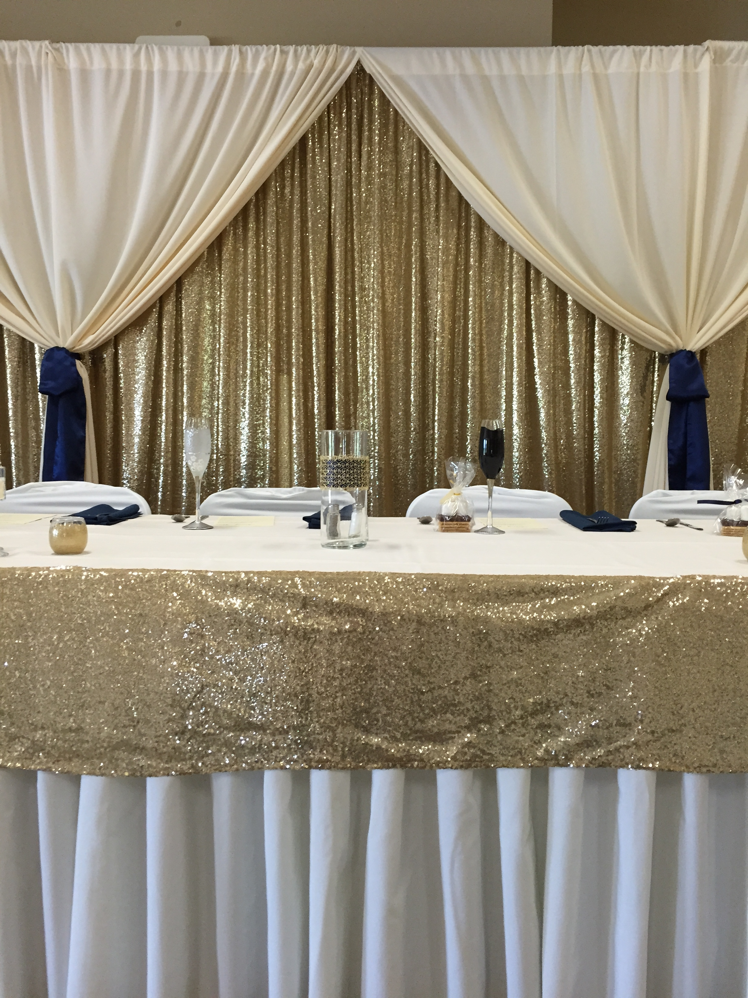 Gold Sequin Ivory Drapery Backdrop For Head Table Httpwww Regarding Curtain Head (Image 9 of 15)