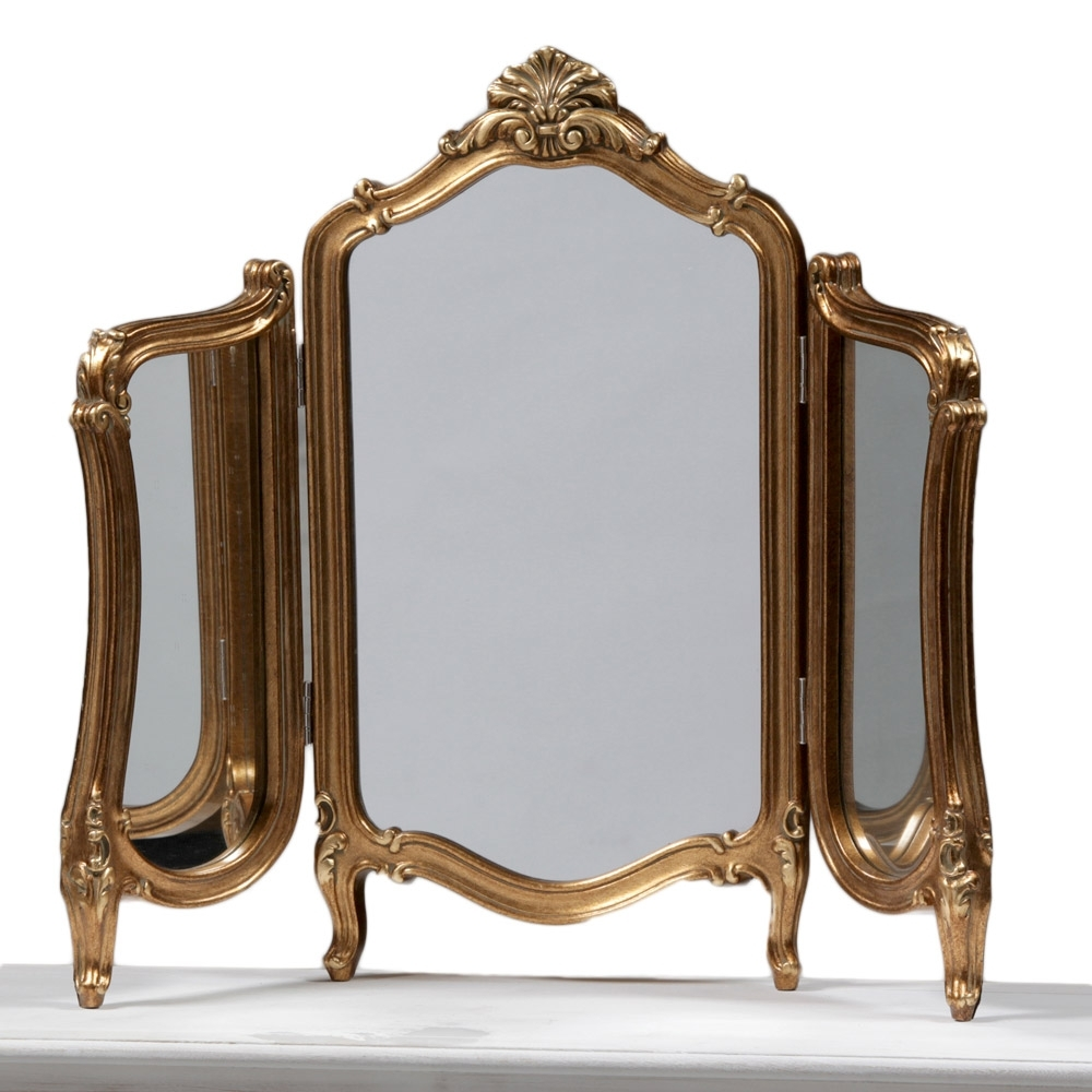 Gold Vanity Table With Mirror Globorank In Gold Table Mirror (Image 6 of 15)