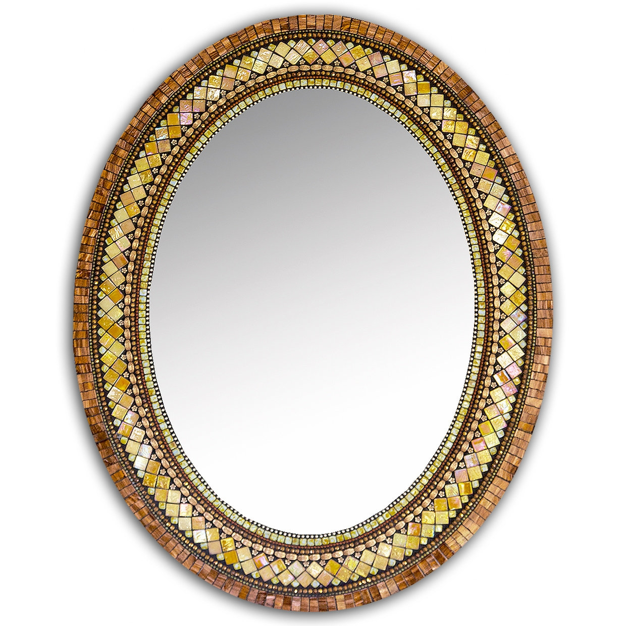 Golden Bronze Mosaic Mirror Angie Heinrich Mosaic Mirror For Mosaic Mirrors For Sale (Image 5 of 15)