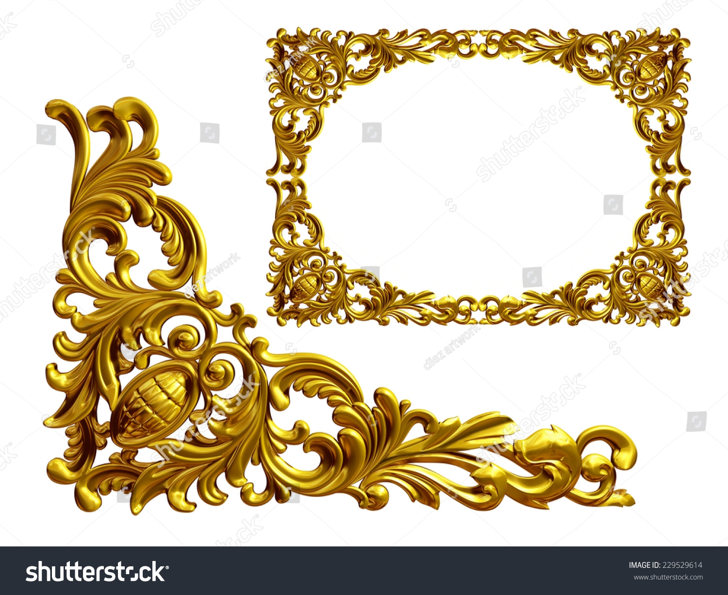 Golden Frame Baroque Ornaments Gold Mirror Stock Illustration For Baroque Gold Mirror (Image 11 of 15)