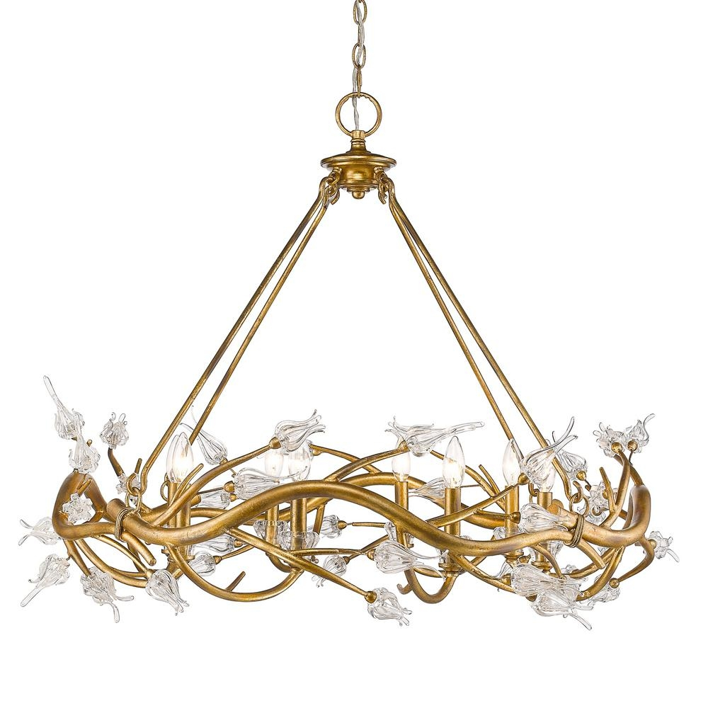 Golden Lighting Aiyana 8 Light Gold Leaf Chandelier With Clear Throughout Gold Leaf Chandelier (Image 11 of 15)