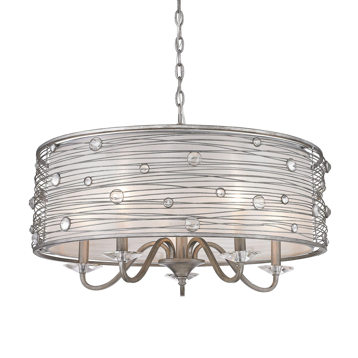 Golden Lighting Joia Peruvian Silver Five Light Chandelier On Sale In Silver Chandeliers (Image 8 of 15)