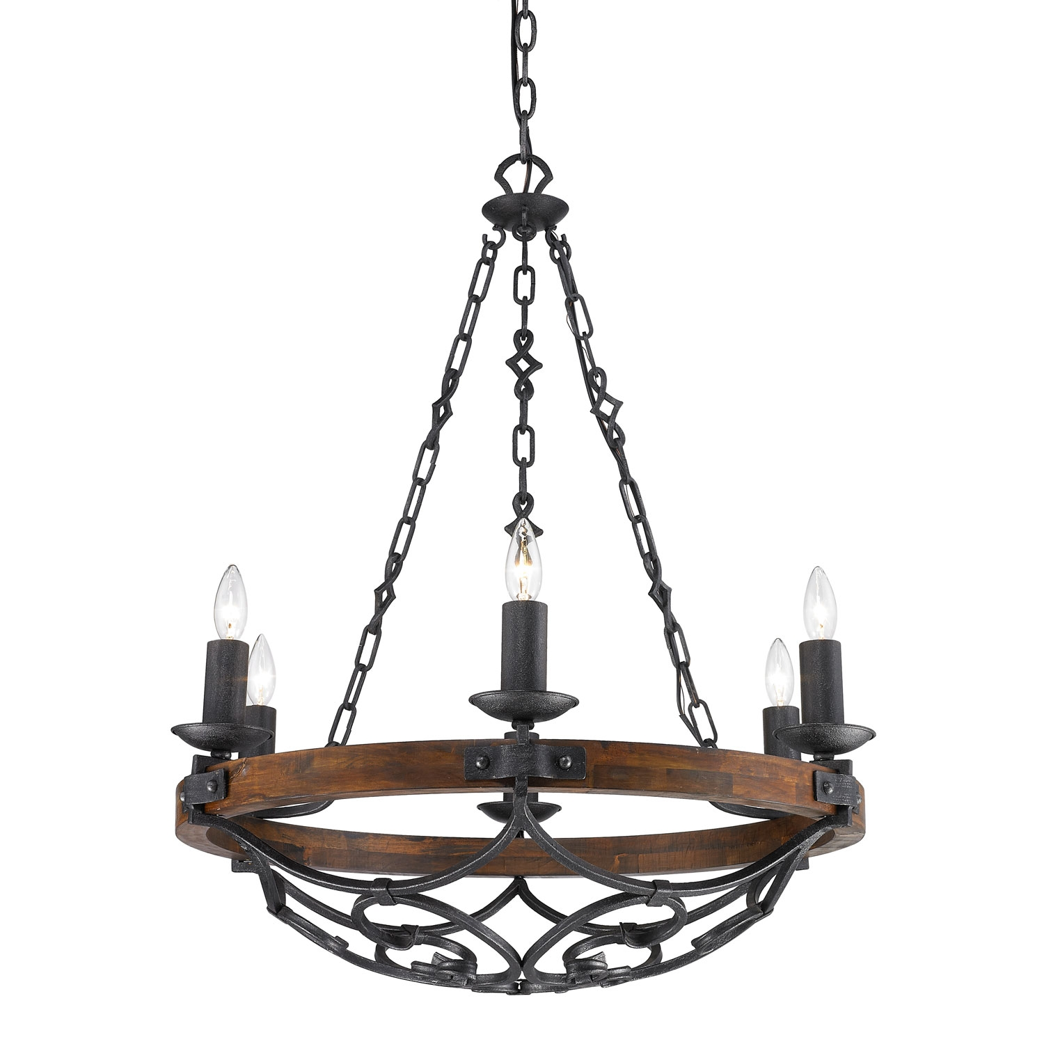 Golden Lighting Madera Black Iron Six Light Chandelier On Sale Intended For Iron Chandelier (Image 8 of 15)