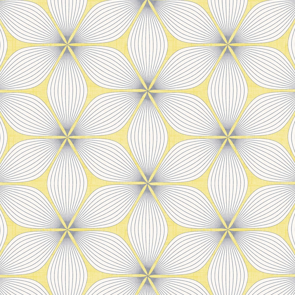 Golden Yellow Grey White Retro Geometric Patterned Roller Blinds Pertaining To Patterned Roller Blind (Image 7 of 15)