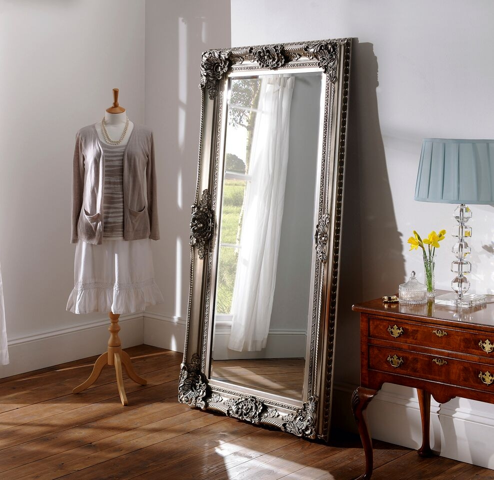 Gorgeous Bilbao Leaner Mirror With Ornate Silver Frame 183 X 122 In Ornate Leaner Mirror (Image 4 of 15)