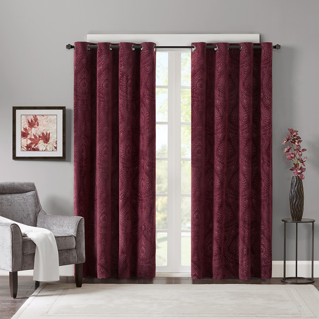 Gorgeous Burgundy Curtains For Living Room Madison Park Milan In Velvet Material For Curtains (Image 6 of 15)