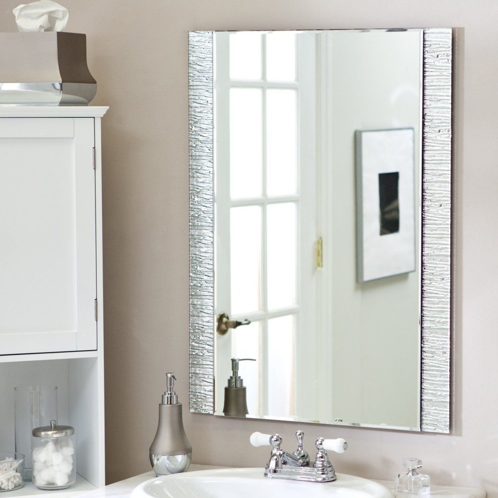 Gorgeous Designs With Bathroom Frameless Mirrors Bathroom Pertaining To Silver Bathroom Mirror Rectangular (Image 8 of 15)