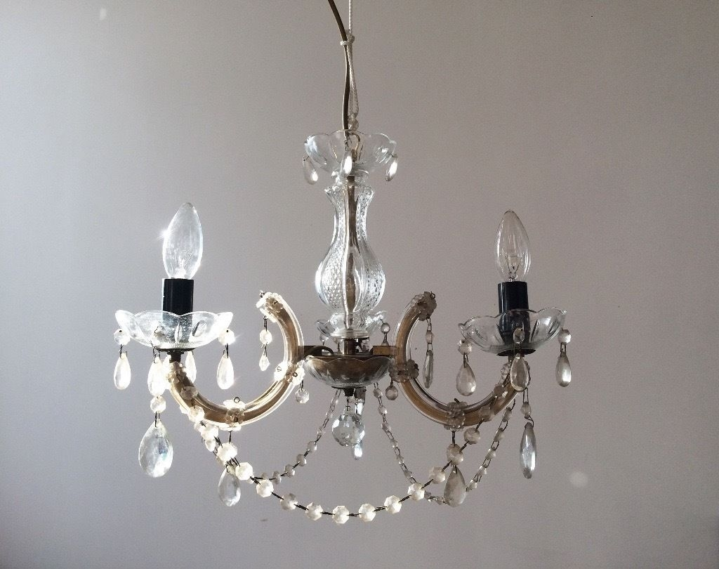 Gorgeous Vintage Glass Droplet Chandelier In Newcastle Tyne And Intended For Glass Droplet Chandelier (Image 11 of 15)