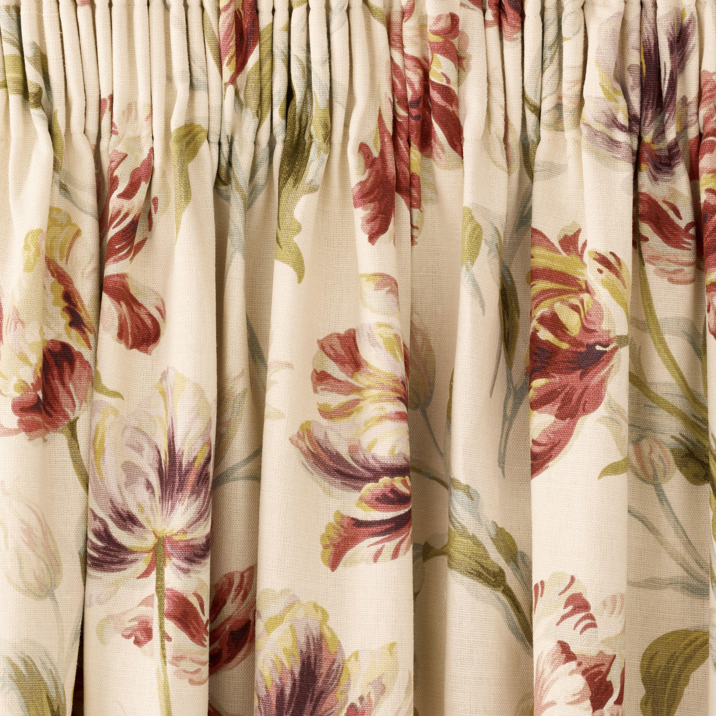 Gosford Cranberry Floral Pencil Pleat Ready Made Curtains At Laura Throughout Ready Made Curtains For Bay Windows (Image 7 of 15)