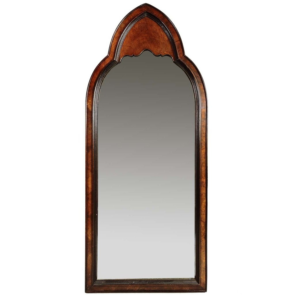 Gothic Revival Burl Wood Arched Wall Mirror At 1stdibs Inside Gothic Wall Mirror (Photo 4 of 15)