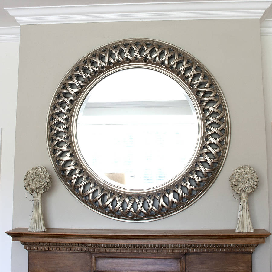 Grand Champagne Silver Weave Round Mirror Mirror Glass Large Throughout Decorativemirrors (Image 8 of 15)