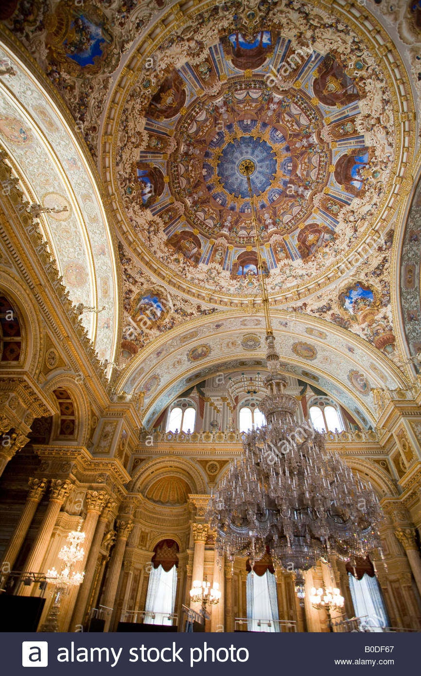 Grand Euro Style Ceremonial Hall The Domed Decorated Ceiling And For Massive Chandelier (Image 6 of 15)