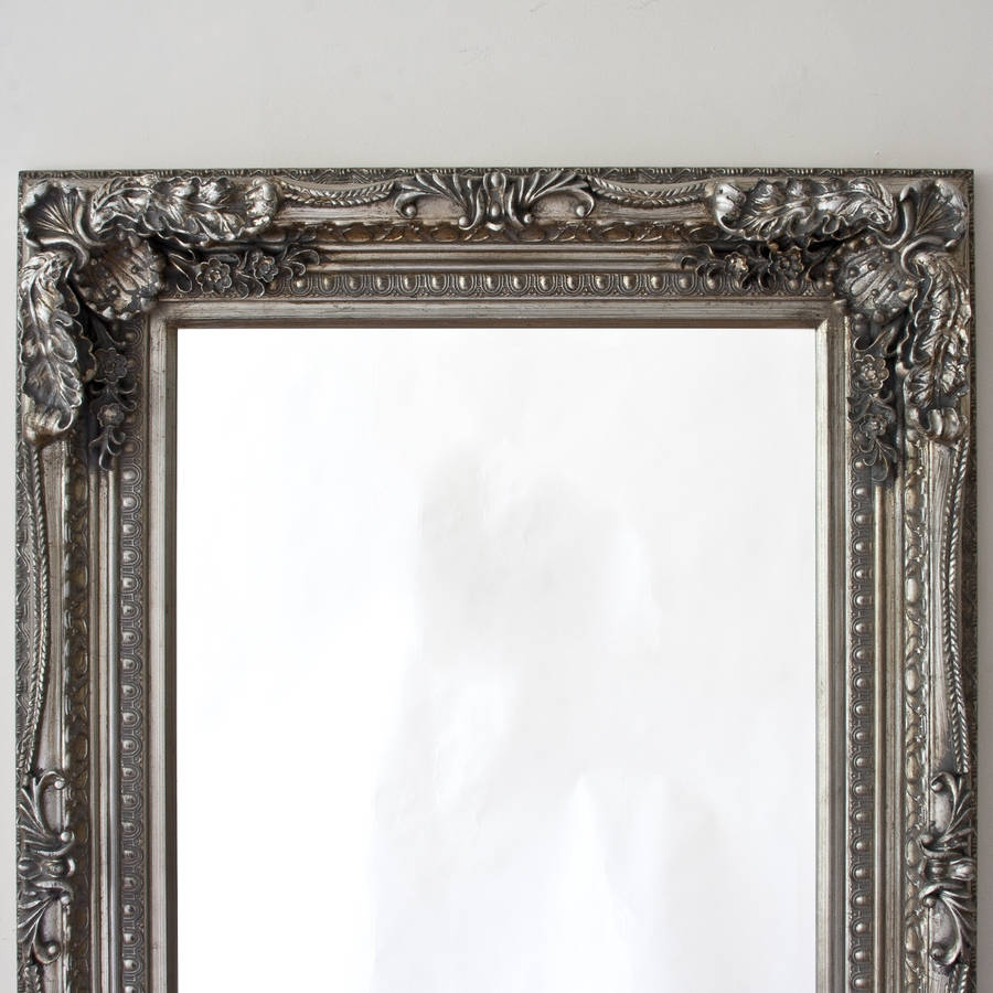 Grand Silver Full Length Dressing Mirror Decorative Mirrors Within Full Length Silver Mirror (Image 9 of 15)