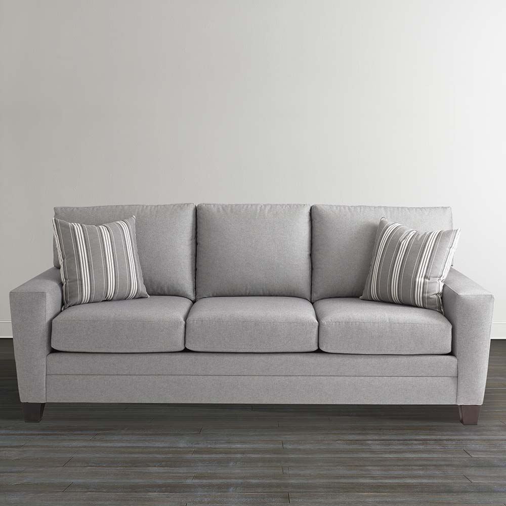 Gray Plaid Upholstered Sleeper Sofa Intended For Bassett Sofa Bed (Image 8 of 15)
