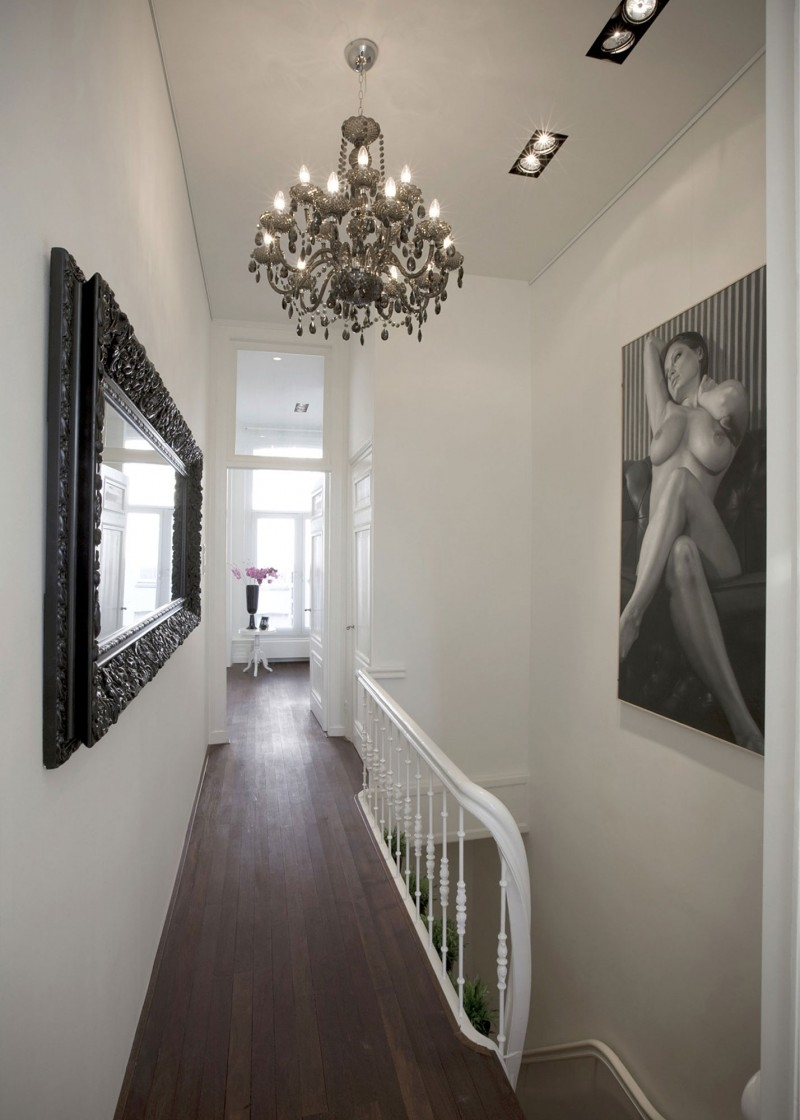Gray Round Fur Rug On Wooden Floor Small Entrance Hallway Wall For Small Hallway Chandeliers (Image 7 of 15)