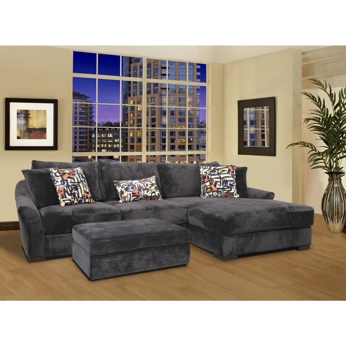 Gray Velvet Oversized Sectional Sleeper Sofa With Left Chaise Pertaining To Coffee Table For Sectional Sofa With Chaise (Image 11 of 15)