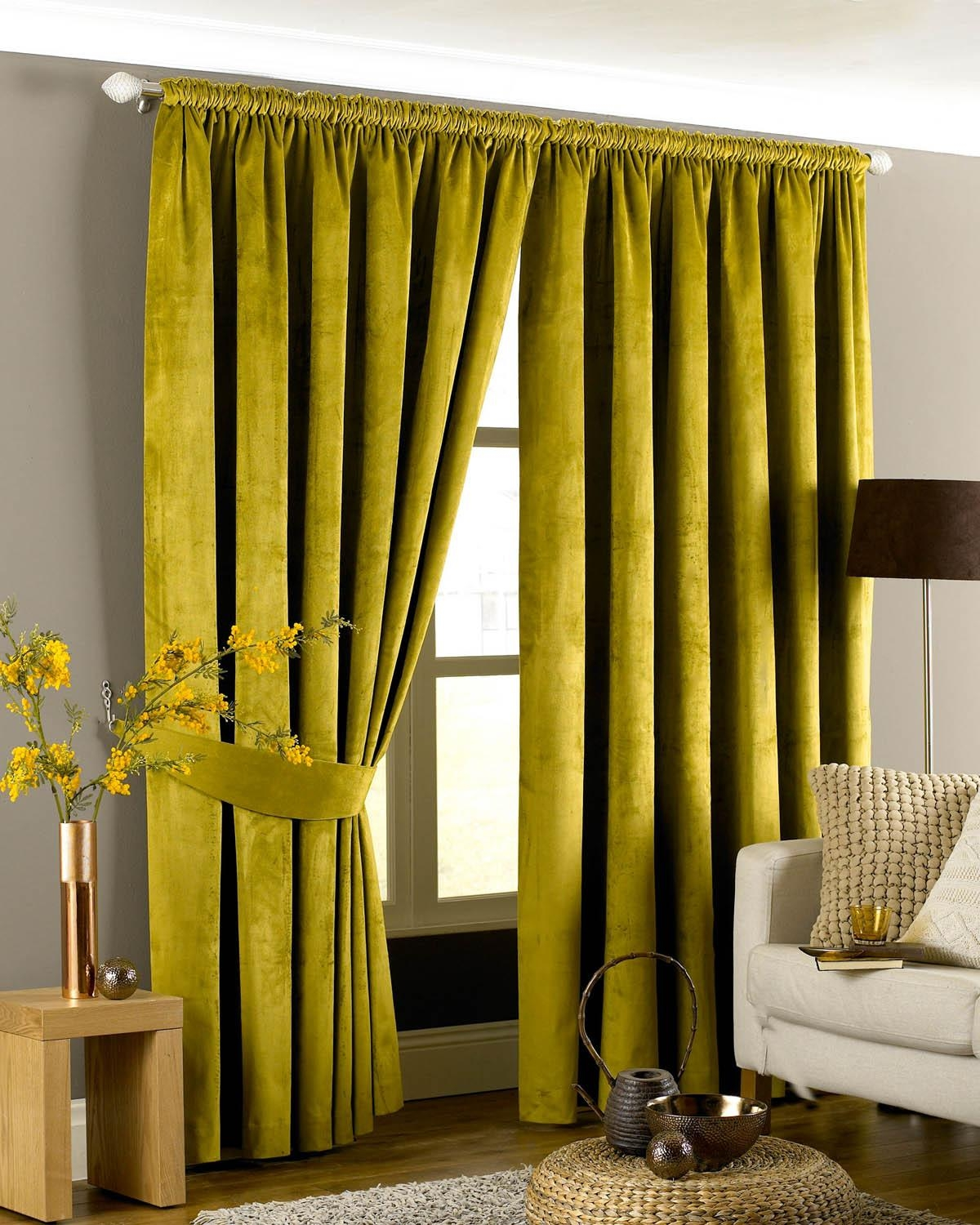 Green Velvet Curtains Ready Made Best Curtains 2017 Within Yellow Velvet Curtains (Image 12 of 15)