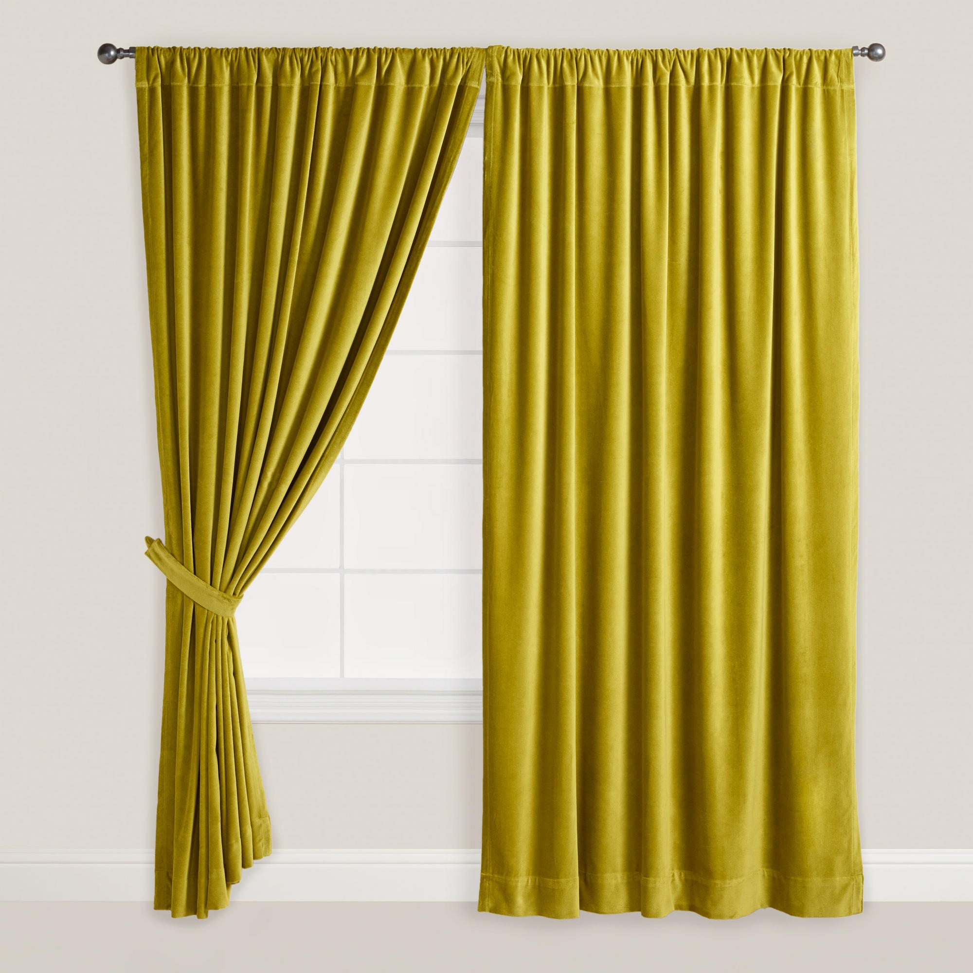 Green Velvet Oasis Curtain World Market Bedroom Furniture Pertaining To Yellow Velvet Curtains (Image 13 of 15)
