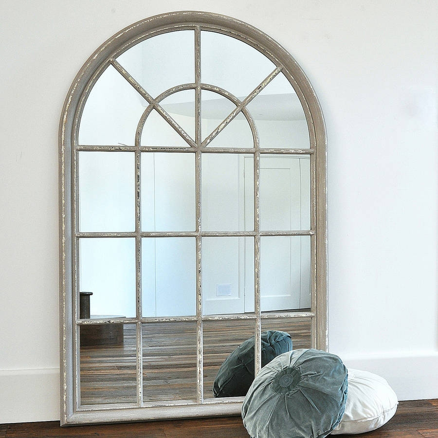 Grey Arched Window Mirror Beautiful Mirrors And Wooden Frames Intended For Arched Mirror Window (Image 9 of 15)