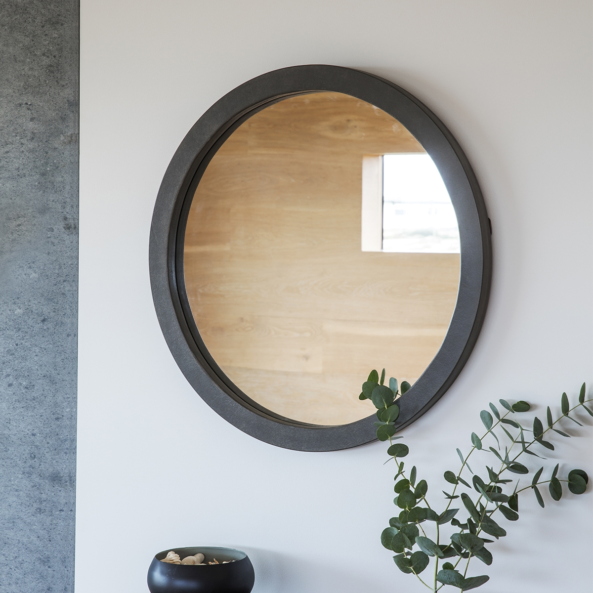 Grey Frame Modern Round Mirror 61cm Exclusive Mirrors For Contemporary Round Mirrors (Image 8 of 15)