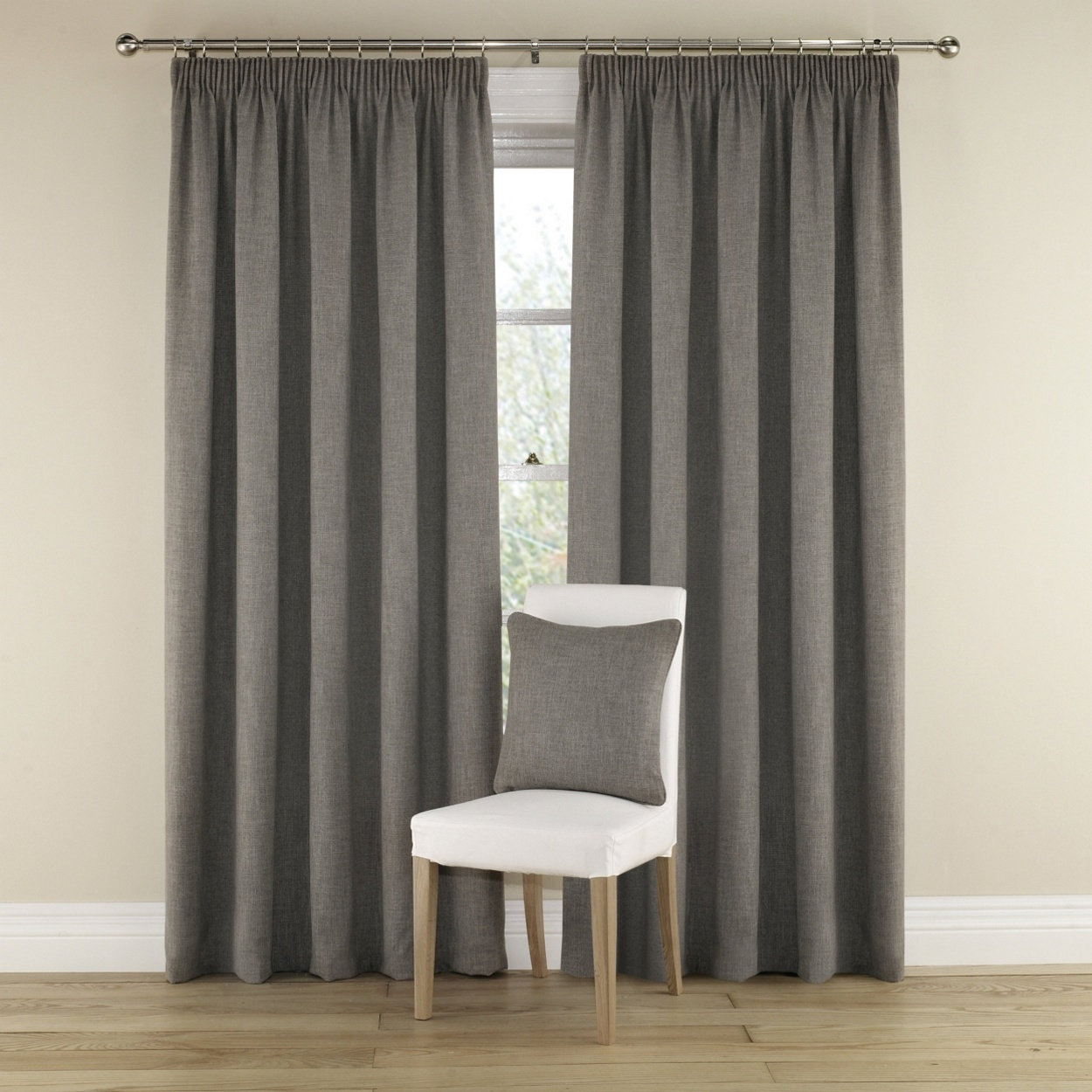 Grey Harrison Lined Curtains With Pencil Heading Natural Grey Within Hessian Curtains (Image 8 of 15)