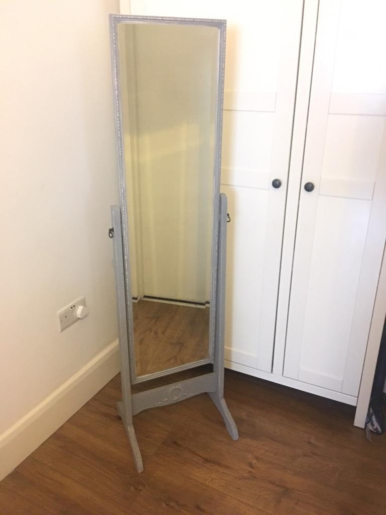 Grey Shab Chic Vintage Free Standing Mirror French In Tooting Throughout Vintage Free Standing Mirrors (Image 11 of 15)