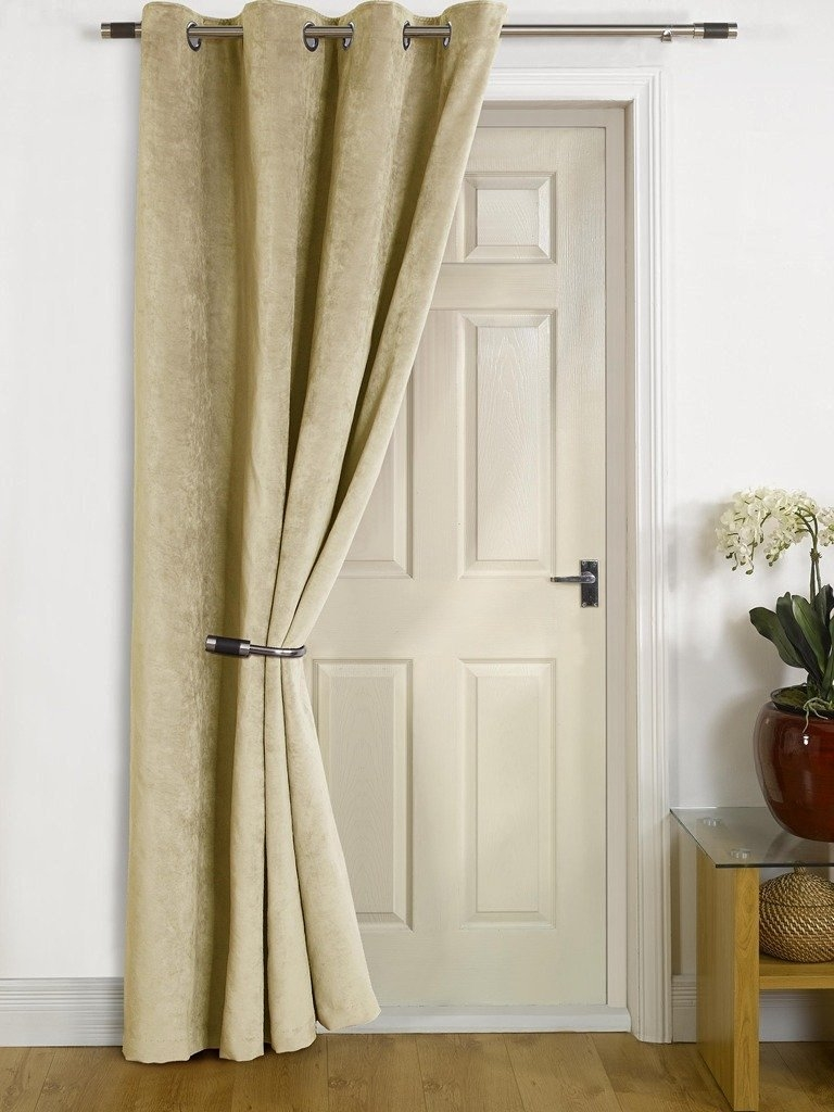 Grey Velvet Single Door Curtain Eyelet Blackout Thermal 229cm With Velvet Door Curtain (Image 8 of 15)