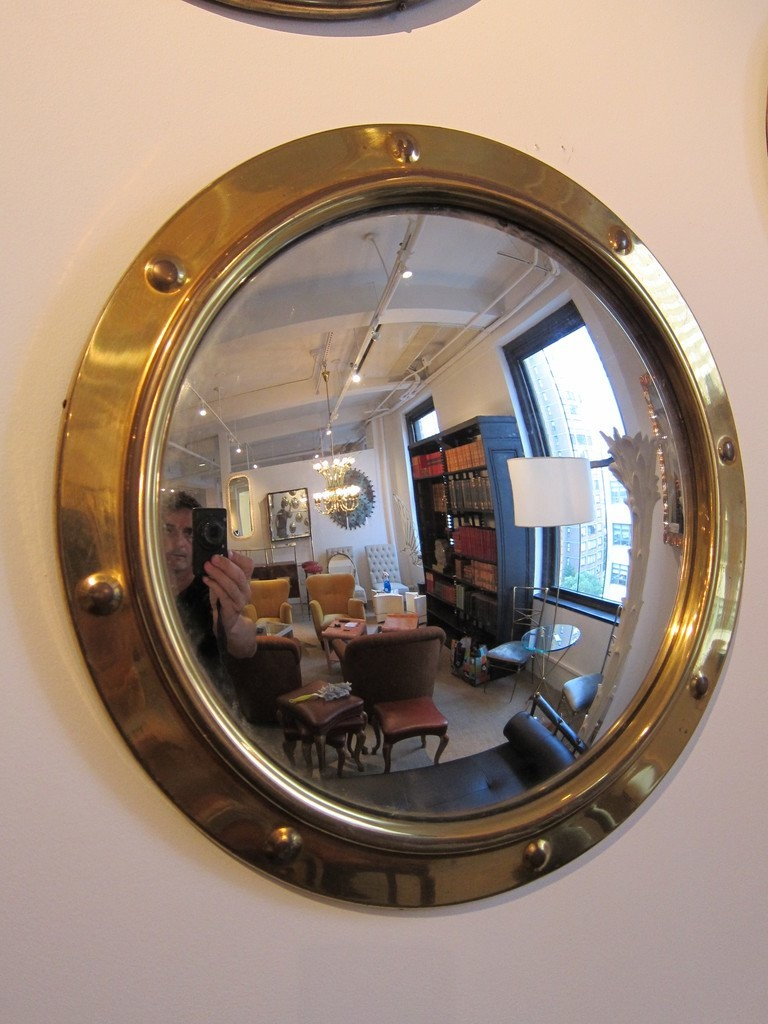 Group Of Brass Porthole Convex Mirrors At 1stdibs Regarding Convex Porthole Mirror (Image 5 of 15)