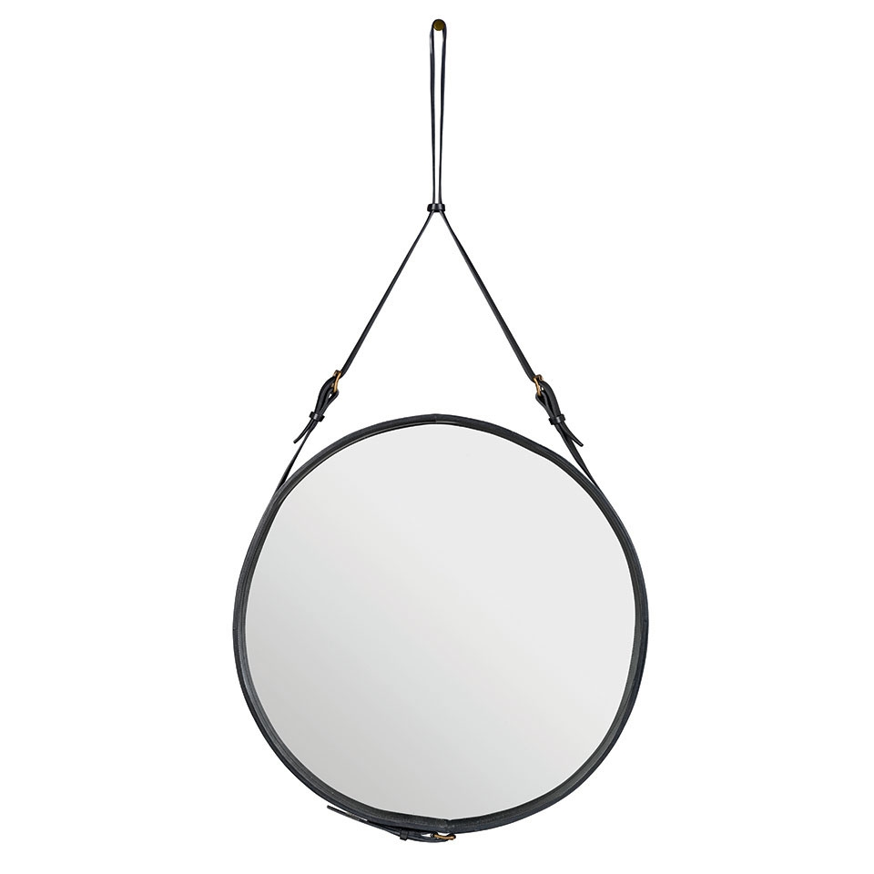 Gubi Round Leather Adnet Mirror Black Leather And Brass Inside Round Leather Mirror (Image 4 of 15)