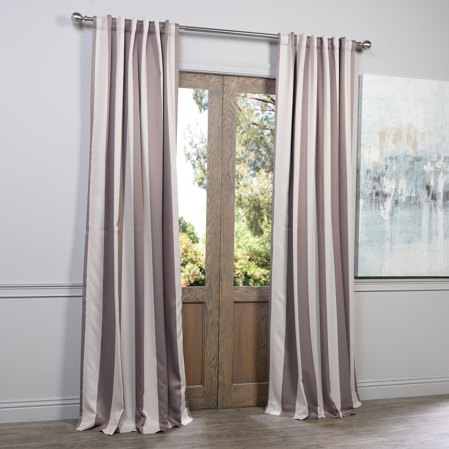 Half Price Drapes Charleston Striped Blackout Thermal Rod Pocket In Striped Thermal Curtains (Image 7 of 15)