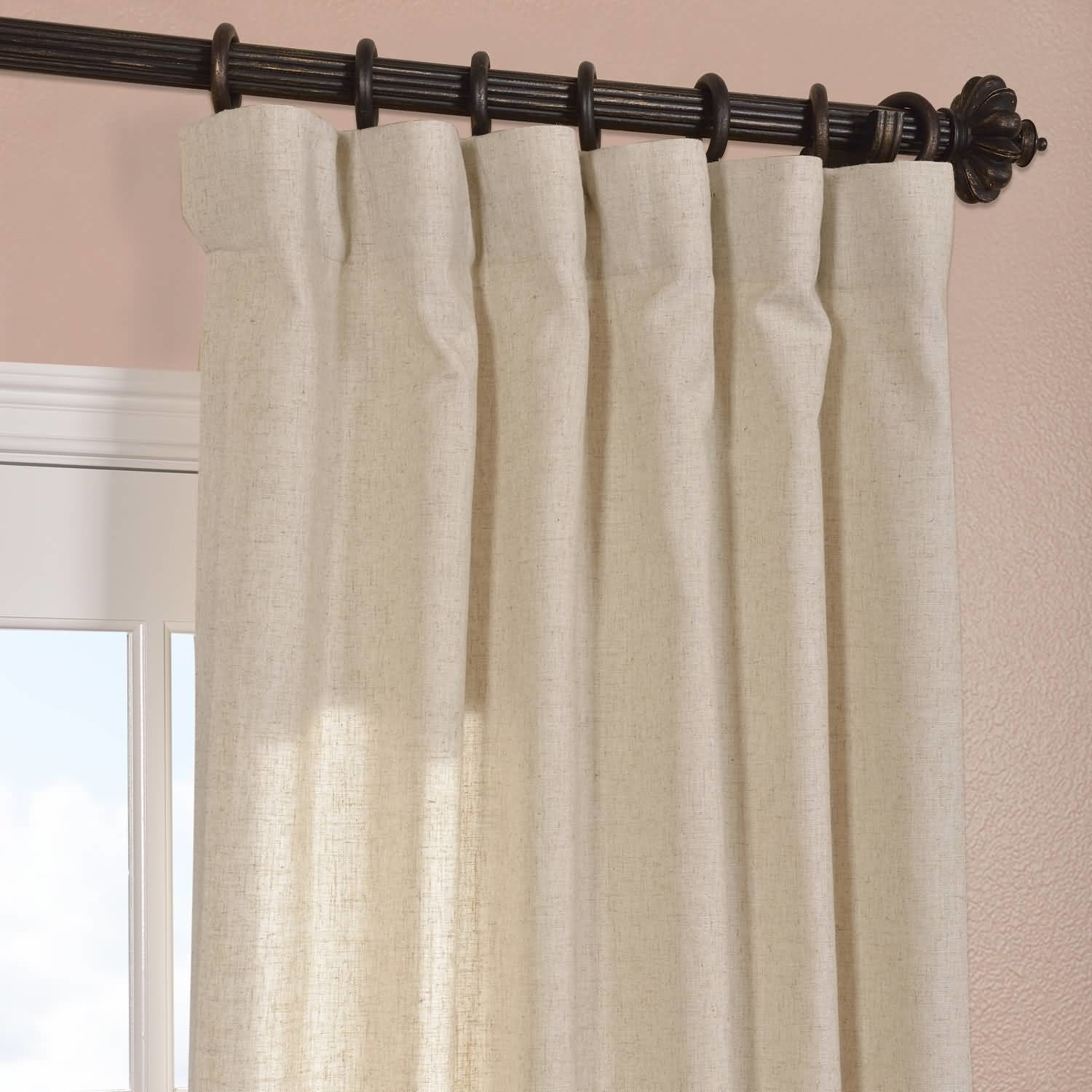 Half Price Drapes Hilo Natural Linen Solid Semi Sheer Rod Pocket Throughout Natural Curtain Panels (View 8 of 15)