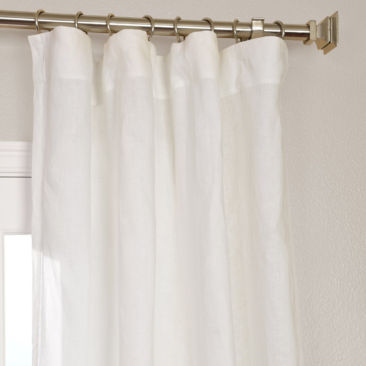 Half Price Drapes Signature Solid Sheer Rod Pocket Single Curtain Pertaining To Linen Gauze Curtains (Image 6 of 15)