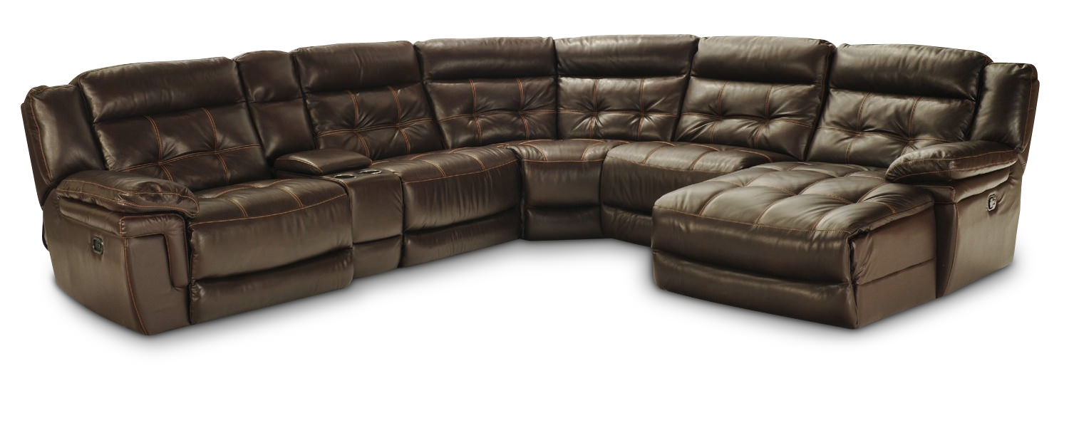 Hallmark 6 Piece Leather Power Recline Sectional 2 Reclining With Regard To 6 Piece Leather Sectional Sofa (Image 5 of 15)