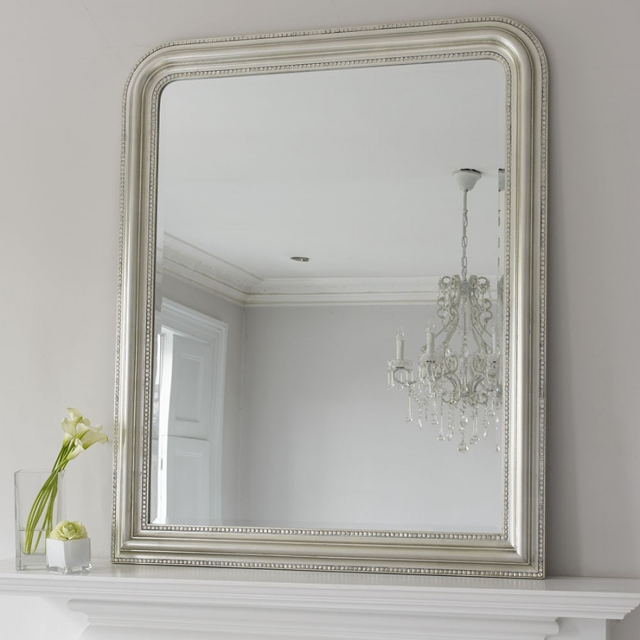 Hampshire Mirror Silver Large Brissi Intended For Mantelpiece Mirror (Image 5 of 15)