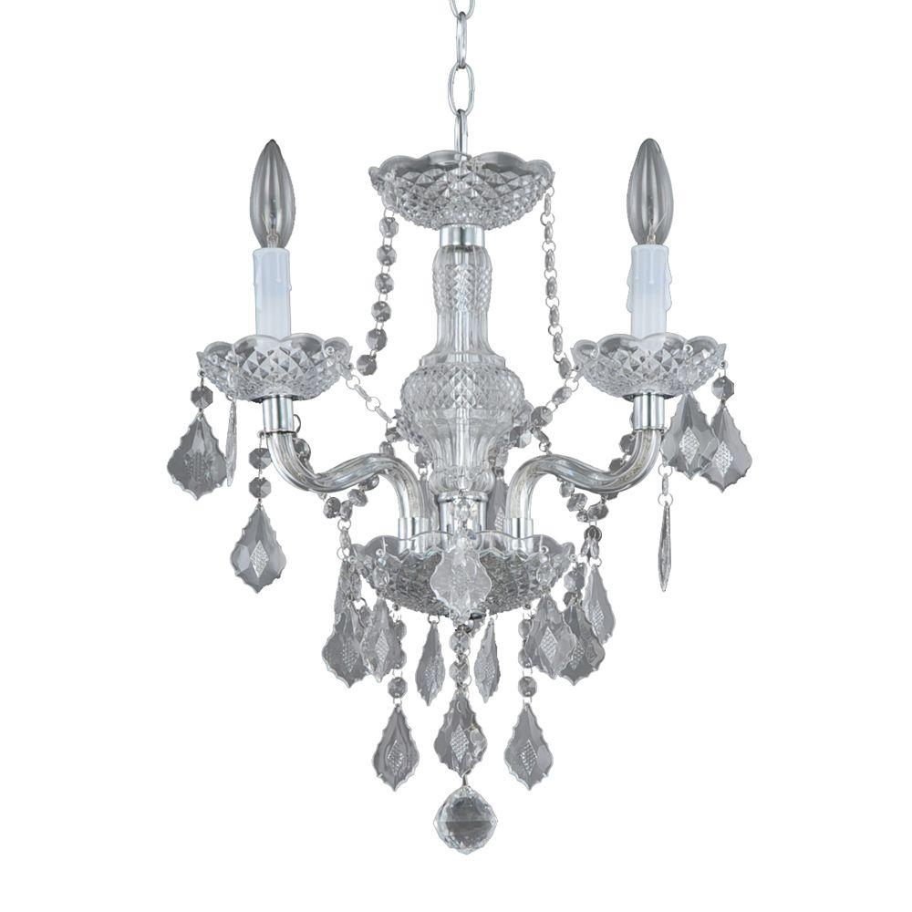 Hampton Bay 3 Light Chrome Maria Theresa Mini Chandelier C873ch03 Regarding Small Chrome Chandelier (Image 9 of 15)