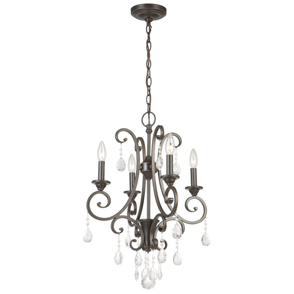Hampton Bay 4 Light Oil Rubbed Bronze Crystal Small Chandelier In Bronze And Crystal Chandeliers (View 11 of 15)