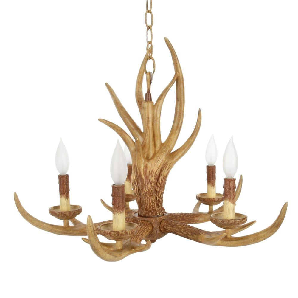 Hampton Bay 5 Light Natural Antler Hanging Chandelier 17195 The Pertaining To Antler Chandeliers And Lighting (Image 8 of 15)