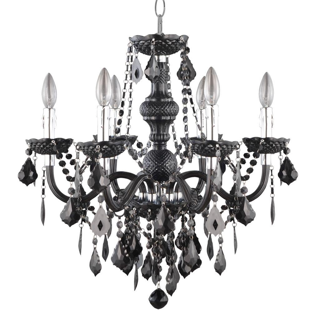 Hampton Bay 6 Light Chrome Maria Theresa Chandelier With Black For Black Chandelier (Image 11 of 15)