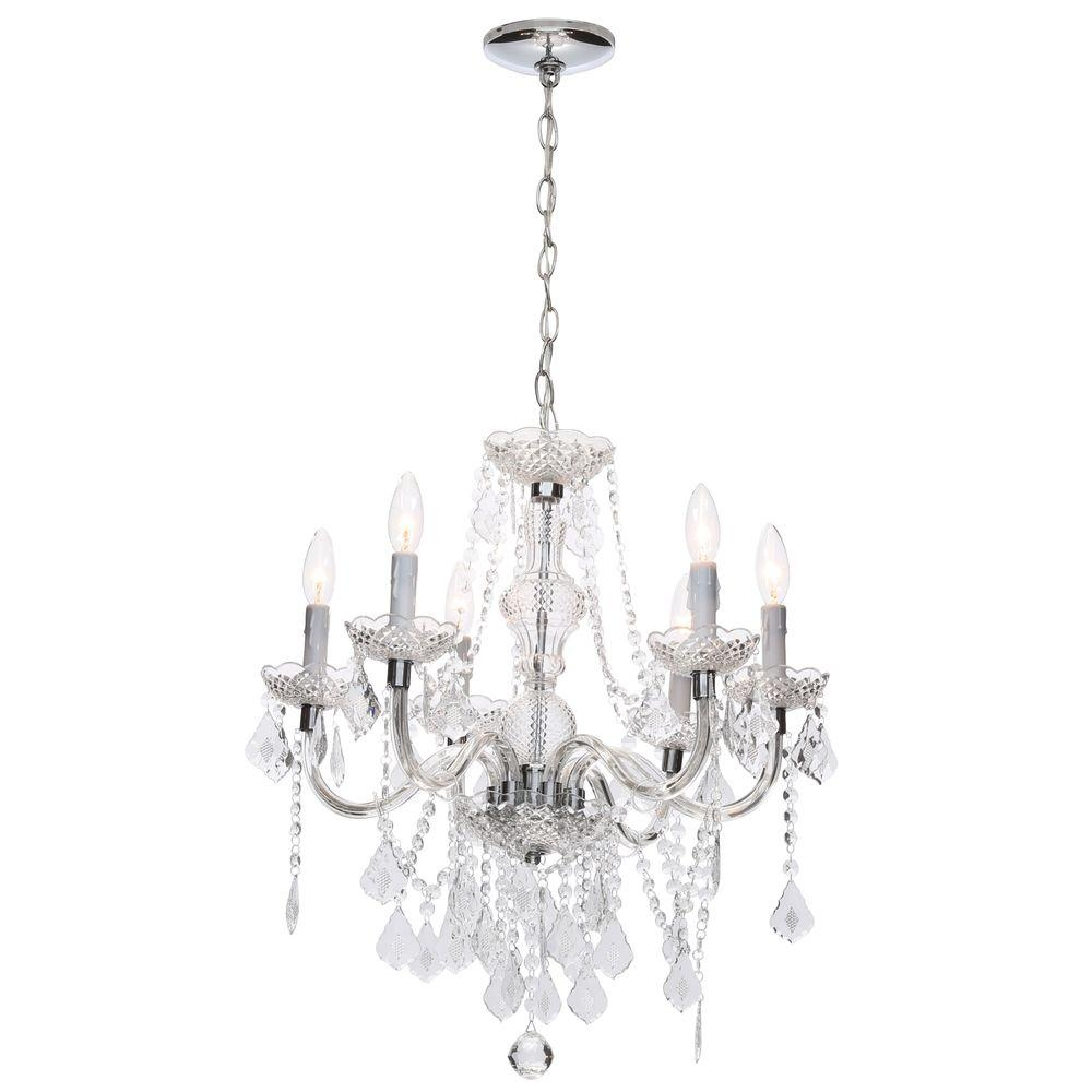 Hampton Bay 6 Light Chrome Maria Theresa Chandelier With Black Within Chandelier Lights (Image 13 of 15)