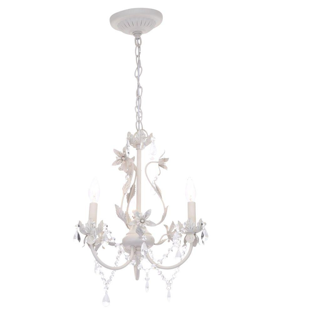 Hampton Bay Kristin 3 Light Antique White Hanging Mini Chandelier Regarding White Chandeliers (Image 11 of 15)