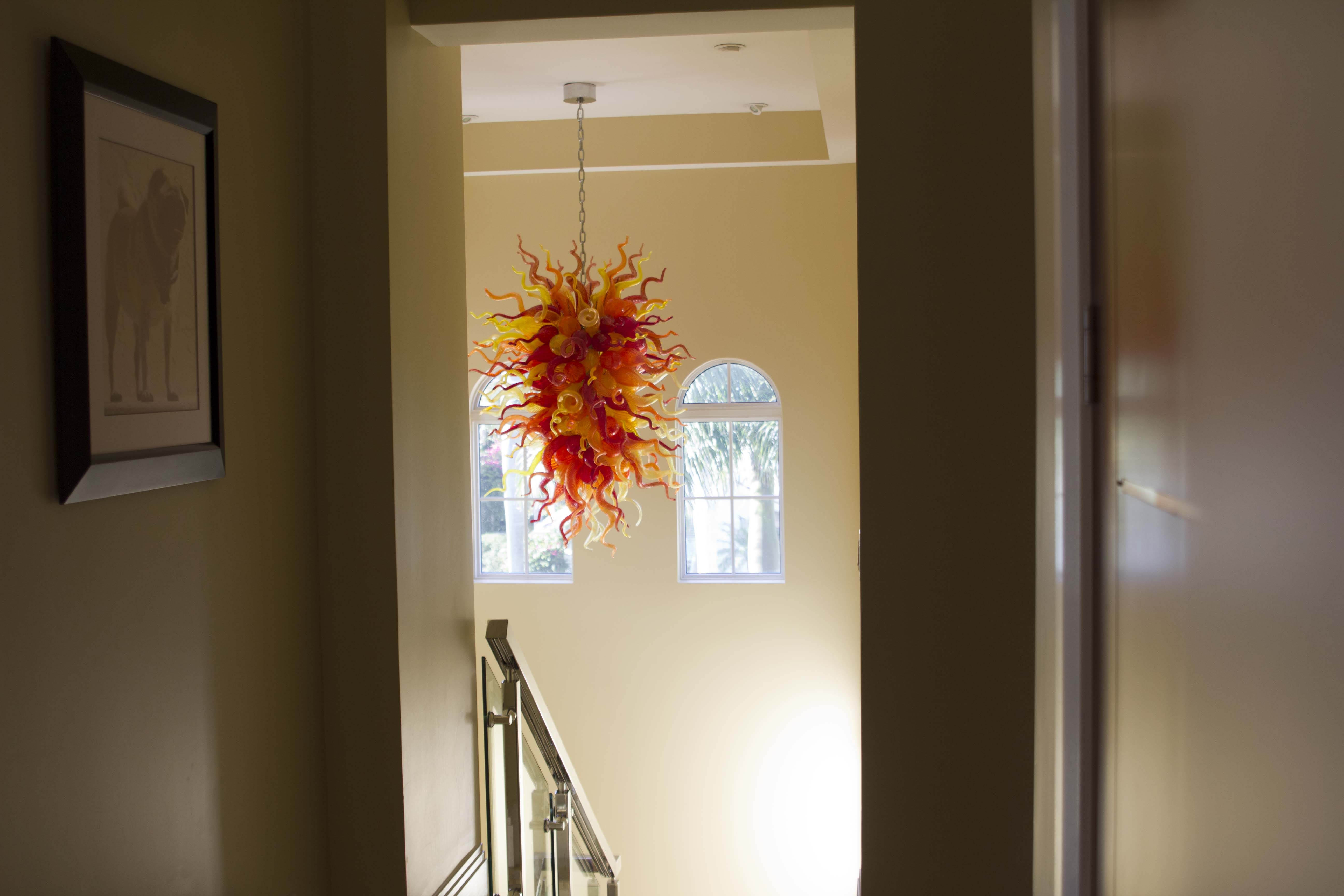 Hand Blown Belle Mead Hot Glass In Stairwell Chandelier (Image 6 of 15)