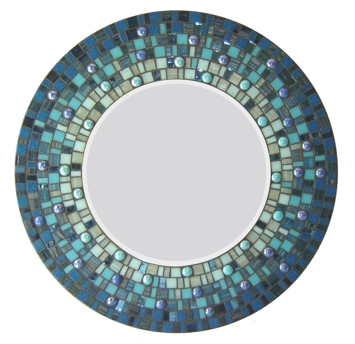 Hand Crafted Round Mosaic Wall Mirror Blue Opus Mosaics For Mosaic Wall Mirrors (Image 7 of 15)