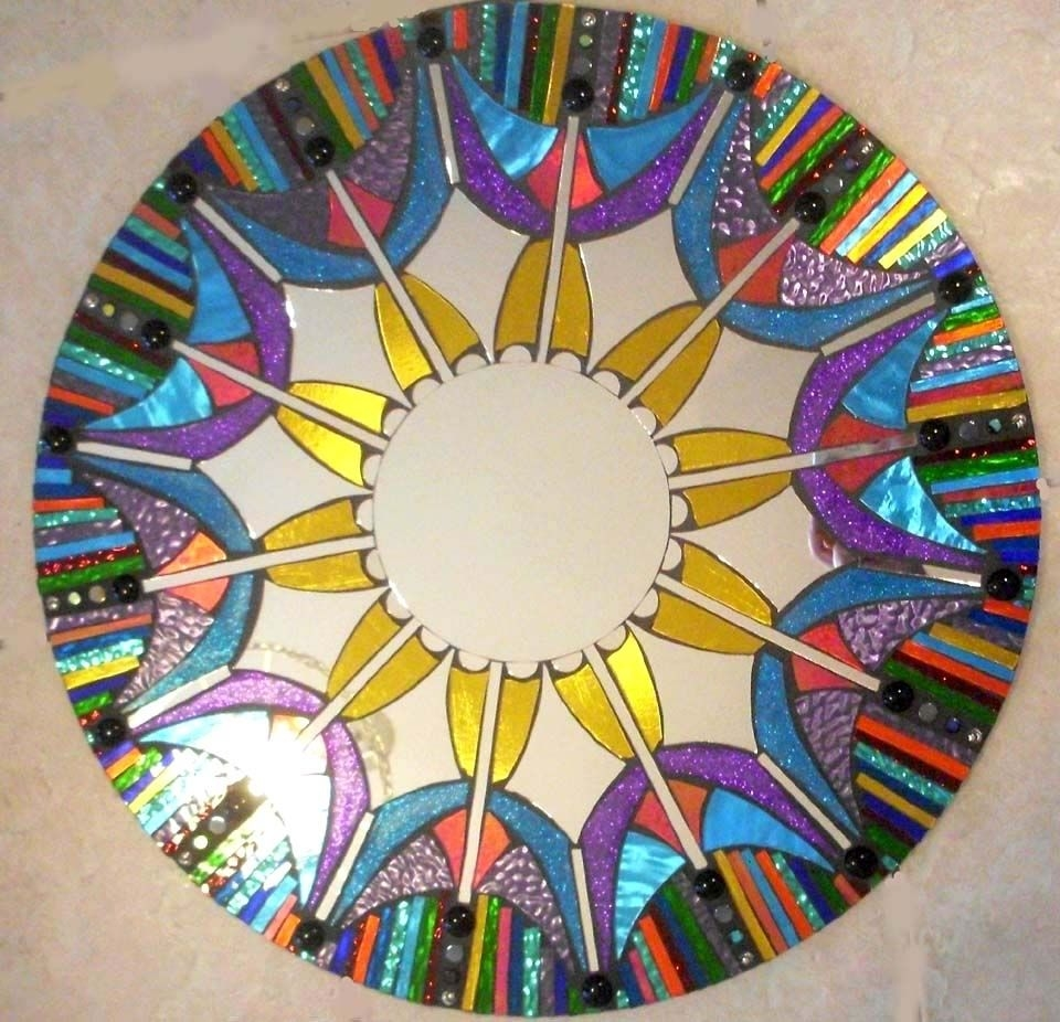 Hand Made Mosaic Mirror Colorful Stained Glass Round Sol Sister Throughout Mosaic Mirrors For Sale (Image 6 of 15)
