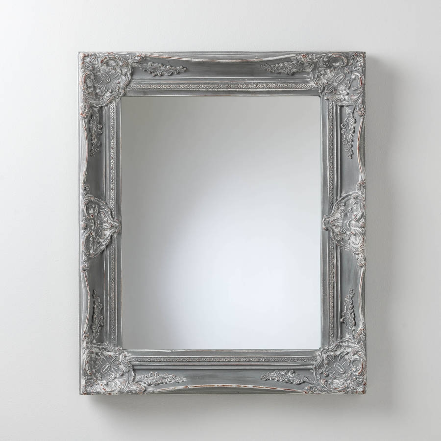 Hand Painted Vintage Grey Mirror Hand Crafted Mirrors Pertaining To Grey Vintage Mirror (Image 7 of 15)