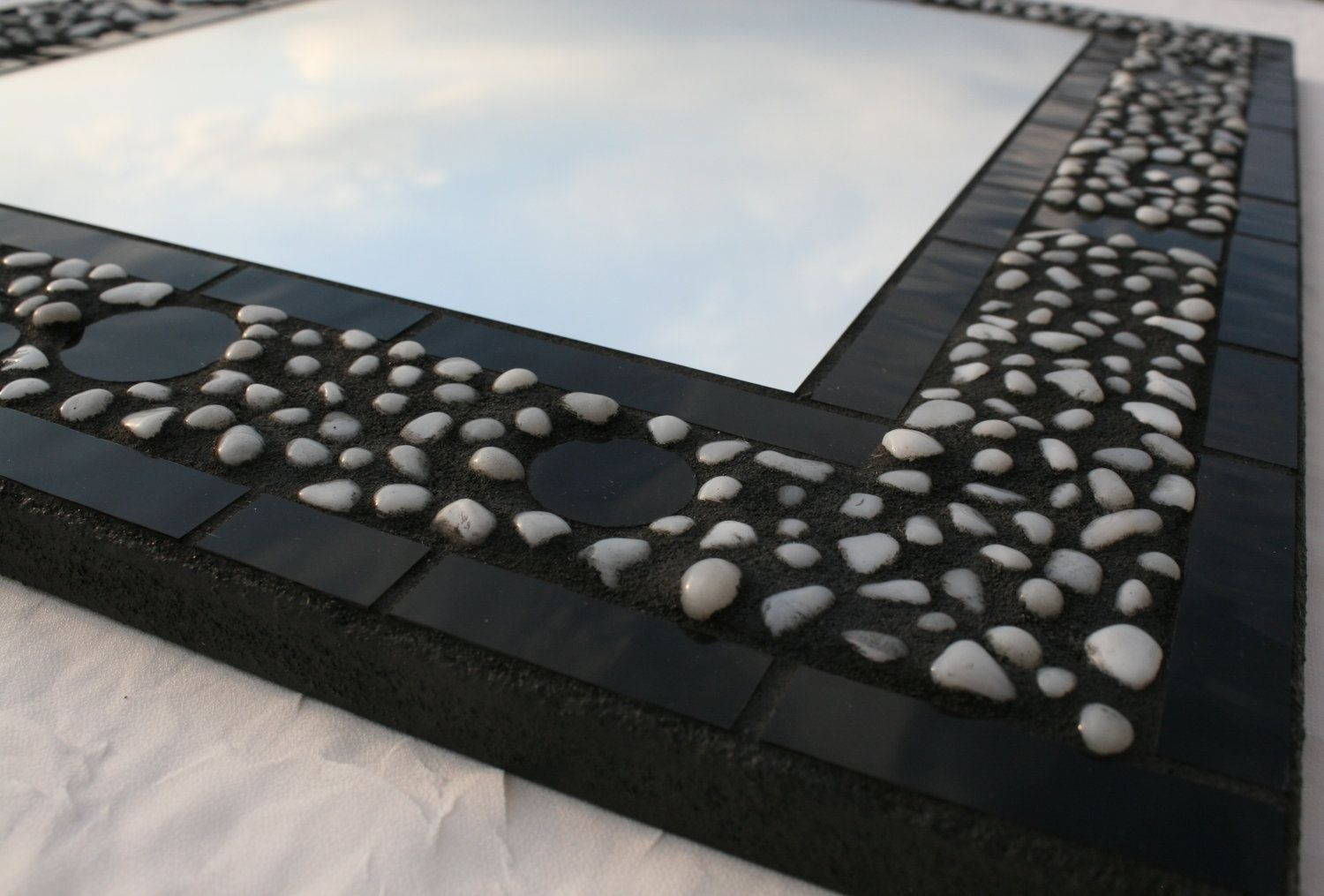 Handmade Black Stained Glass Mosaic Mirror With Pebbles Mud With Black Mosaic Mirror (Image 7 of 15)