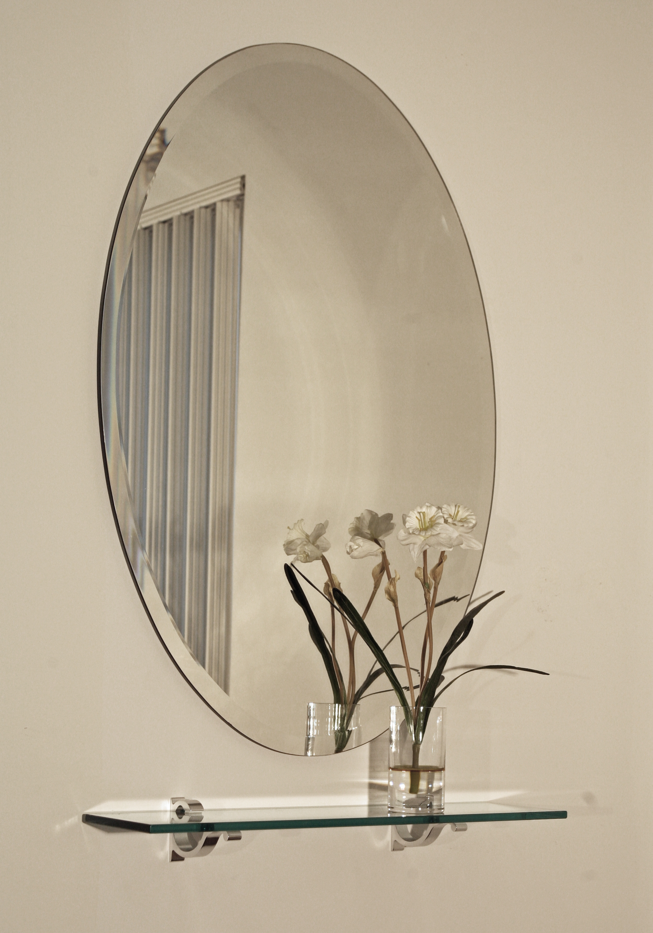 Hang Large Frameless Bathroom Mirror Creative Bathroom Decoration With Regard To Oval Bevelled Mirror (View 5 of 15)