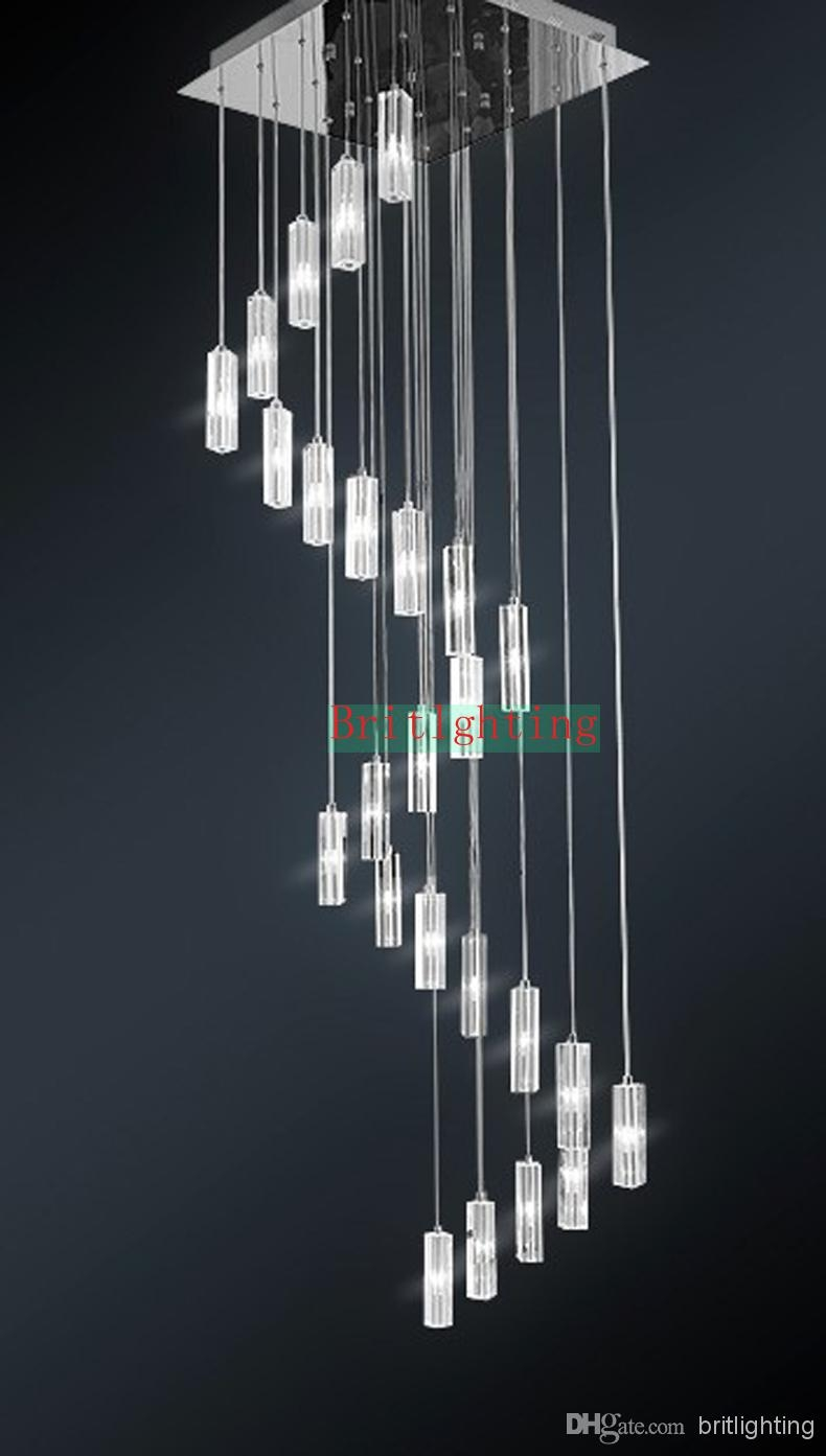 Hanging Crystal Pendants For Chandeliers Stairway Lighting Spiral Throughout Stairway Chandelier (Image 10 of 15)